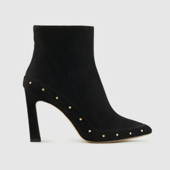 Duzie Encore Black Suede Ankle Boot With Gold Studs