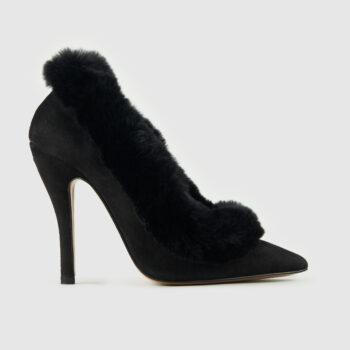 Duzie Divine Suede Base With Fur Trim In Black